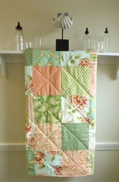 Baby Girl Quilt -  Painted Mums by Heather Bailey -  Cottage Chic Baby Blanket in Salmon, Sage,  and Aqua. $89.00, via Etsy.