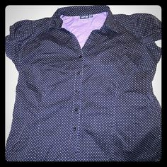 Black w/purple poka dot s/s buckle button up shrt Cute apt 9 short sleeve button front blk w/purple poka dot s and silver accented buckle on outer sleeve cuff. Add a little umph to the daily grind.  100% of sales go to a fellow Posher who was left destitute with her 3 kids. Her ex husband fled during indictment due to fraud & ceased childsupport and alimony. Her home is being forclosed on and car repossessed.  She has to sell everything to provide 4 3 young kids. I'm donating 100% of sales…