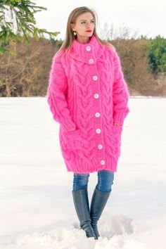 SUPERTANYA NEON PINK Hand Knitted Sweater SLOUCHY Extra Fuzzy ...