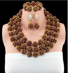 New Fashion Multi Layers Crystal Bead Necklace Nigerian Wedding African  Beads Jewelry Set for Women ... 05e6b49d2d1c