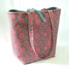 Pink Floral Tote Bag Purse Pink Grey Fabric Bag by ColleensDesigns