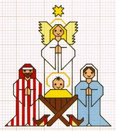 This cross stitch chart, from my most used Jo Verso book, 'Cross Stitch Cards & Keepsakes (pub David & Charles, 1990) depicts Jesus, Mary, Joseph and the Angel from the Nativity. As always with Jo the pattern is easy to follow and to do. The book contains a host of items for a variety of occasions and Jo's mix'n'match approach means you can use her designs in many different ways, not just they way she may have described.