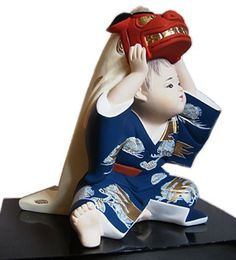 Little Boy with Big mask of Lion, Japanese Hakata clay doll. The Japonic Online Kimono and Fine Art Store