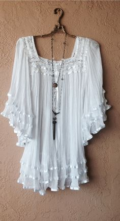 Image of Jens Pirate Booty Bohemian gypsygauze ribbon  tunic Lace   Cape sleeve romantic dress
