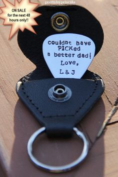 48 HR SALE!!!! Unique Christmas Gift for Dad/Stepdad/Grandpa/Papa-Black Leather Guitar Pick Holder & Key Ring w Personalized Hand Stamped Guitar Pick on Etsy, $35.00