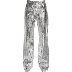 Loewe Women Croc Print Metallic Nappa Leather Pants ($2,495) ❤ liked on Polyvore featuring pants, bottoms, jeans, leather, loewe, silver, metallic pants, straight leg pants, white zipper pants and straight leg trousers