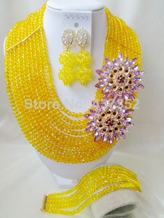 glamorous brooches nigerian beads necklace bracelet earrings african wedding beads jewelry set cps4781