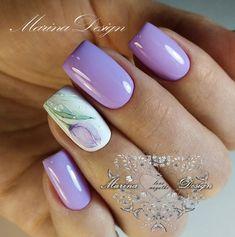 Tulip Nails, Flower Nails, Acrylic Nails Coffin Glitter, Best Acrylic Nails, Fall Nail Art Designs, Beautiful Nail Designs, Cute Nails, Pretty Nails, Lilac Nails Design