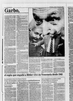 """""""Garbo"""" el espía que engañó a Hitler y vivió en Venezuela desde 1945. Publicado el 24 de junio de 1986."""