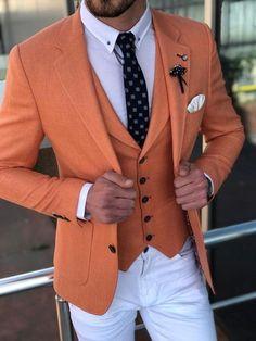 3 Piece Suit Slim Fit, Slim Fit Suits, 3 Piece Suits, Blazer Outfits Men, Blazer Fashion, Mens Fashion Suits, Mens Suits, Orange Suit, Designer Suits For Men