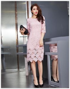 chic n' fab - Elbow-Sleeve Sheath Lace Cocktail Dress