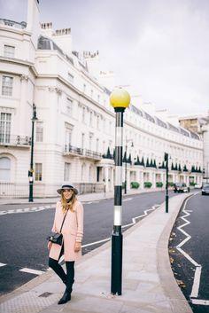 Pink in Belgravia - Miu Miu coat, OldNavy Jeans, Miu Miu Bag, Maison Michel Hat, Acne Boots