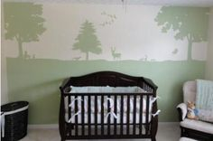 Baby Nursery Wall Mural Painting with Whitetail Deer, Ducks and a Forest of Trees in Sage Green Color Paint