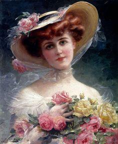 Émile Vernon (1872-1919) —  Beauty with Flowers   (817×1000)