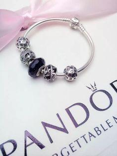 50% OFF!!! $159 Pandora Charm Bracelet Black Hearts. Hot Sale!!! SKU: CB01367 - PANDORA Bracelet Ideas