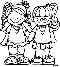 Melonheadz black and white clipart school clothes