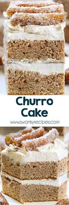 Churro Cake - Mexican Cinnamon Butter cake with cream cheese buttercream frosting.  his uses Mexican Vanilla extract, #Cinnamon, Cream cheese, Butter extract, Full-fat sour cream, Unsalted #butter, Almond extract ♦♦  #cake #churro #buttercream