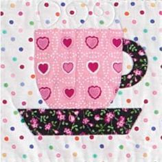 ~ Teacup ~ FREE Fusible Appliqué Tea Cup Quilt Block Pattern: a small one would be cute on a mug rug, with a bit of lace sewn under the saucer as a tablecloth.