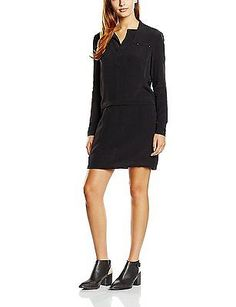 8, Black - Noir (Black), Color Block Women's 5226064 Long sleeve Dress NEW