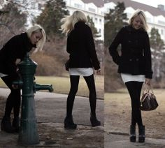 New Yorker Black Coat, Forever 21 White Dress, Black Tights, H&M Black Ankle Boots, Louis Vuitton Hand Bag