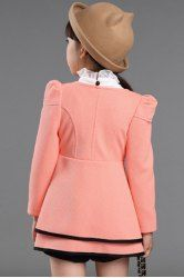 Stylish Double-Breasted Solid Color Flower Embellished Long Sleeve Girl's Coat - PINK 140 Mobile