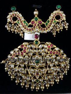 Polki Kundan Pendant - Jewellery Designs