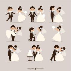 quadrinhos estilo do casamento vetor elementos Vetor grátis