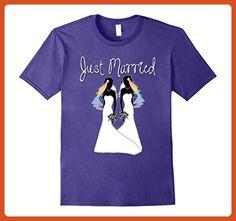 Mens Gay Pride Wedding Shirt Lesbian Rainbow Bride Just Married XL Purple - Wedding shirts (*Partner-Link)
