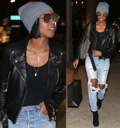 Kelly Rowland in leather jacket and distressed jeans