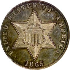"""A """"Three Cent"""" US Silver Coin - dated This type coin for 3 cents was introduced in Rare Coins, Us Coins, Peliculas Western, Gold And Silver Coins, Silver Bars, Coins Worth Money, Coin Worth, American Coins, Old Money"""