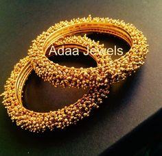 Antique gold finish bangles by adaa_jewels Gold Bangles Design, Gold Jewellery Design, Gold Jewelry, Handmade Jewellery, Indian Wedding Jewelry, Indian Jewelry, Stylish Jewelry, Jewelry Sets, Jewelry Making