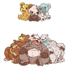 Need moAR beAR pokemon! (Teddiursa, Pancham, Cubchoo - Ursaring, Pangoro, Beartic) --- imagine Stufful and Bewear joining them Pokemon Comics, Pokemon Fan Art, Pikachu, Pancham Pokemon, Pokemon Life, Pokemon Funny, Pokemon Memes, Pokemon Fusion, Doodle Art