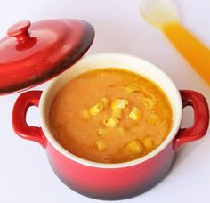 Crema de papas y choclo para bebés. Descubrí la receta en http://www.pequerecetas.com/receta/crema-patata-maiz-para-bebes/