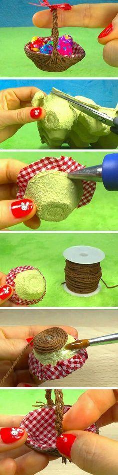 Miniature basket made from an egg carton El işi turkrazzi.com/... El işi turkrazzi.com/...
