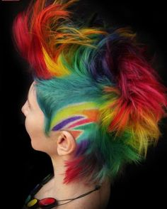 How-To: double rainbow mohawk cut and color - hair color - modern salon Mohawk Hairstyles, Pretty Hairstyles, Rainbow Hairstyles, Wild Hairstyles, Pelo Mohawk, Mohawk Cut, Pelo Multicolor, Color Fantasia, Epic Hair