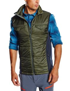 Warm your core with versatile Quentin vest. Water resistant and insulated you'll move fluidly over rocks, up inclines, and across town.  100% Polyester LYCRA bound cuffs Durable Water Resistant (DWR) finish sheds water and resists staining 80 gms PrimaLoft SYNERGY Insulated panels on upper center front and back Snap closure chest pockets Draw cord adjustable hem