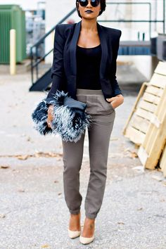 Casual army green pants can be dressed up by adding heels, a blazer, & a fun clutch. This casual cute outfit is perfect for a night out w/ the girls or Sunday brunch!