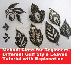 Mehndi Class for Beginners- Different Gulf Style Leaves Tutorial with Ex...