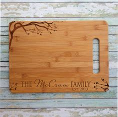 Cherry Blossom Personalized Bamboo Cutting Board Engraved & Eco-friendly