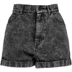 Boohoo Alice Grey Acid Wash High Waist Denim Shorts (40 AUD) ❤ liked on Polyvore featuring shorts, bottoms, short, pants, high rise shorts, high-rise shorts, short jean shorts, high waisted shorts and high-waisted acid wash shorts