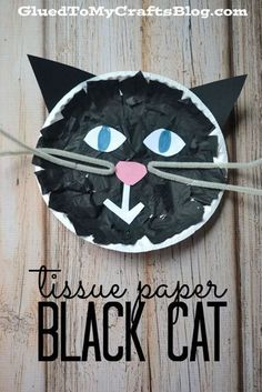 Tissue Paper Black Cat Kid Craft is part of Kids Crafts Halloween Black Cats - Tissue Paper Black Cat Kid Craft goes along perfectly with one of our favorite children's books, Have You Seen My Cat by Eric Carle Manualidades Halloween, Theme Halloween, Fall Crafts For Kids, Halloween Crafts For Kids, Halloween Activities, Projects For Kids, Kids Crafts, Activities For Kids, Halloween Ideas