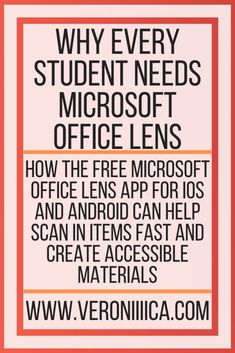 Why Every Student Needs Microsoft Office Lens. How the free Microsoft Office Lens app for iOS and Android can help scan in items fast and create accessible materials Microsoft Classroom, Microsoft Office, Assistive Technology, Educational Technology, College Survival Guide, Special Education, Higher Education, Core Curriculum
