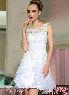 Robe élégante blanche A-ligne en dentelle col rond avec dentelle forme mini - Milanoo.com