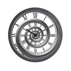 8d9023a3c A hypnotic wall clock with a spiral border and receding roman numerals.