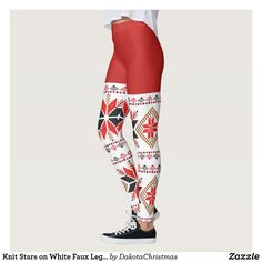 Shop Knit Stars on White Faux Leggings created by DakotaChristmas. Workout Leggings, Women's Leggings, Christmas Leggings, Look Cool, Dressmaking, Things That Bounce, Hand Sewing, Cool Designs, Inspired