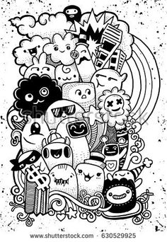 Hand drawing Doodle, vector illustration ,monster social