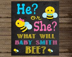 What Will It Bee Gender Reveal Sign Boy Or Girl By InJOYPrints