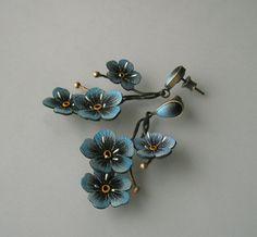 Earrings | Jolanta Bromke.  Silver, painted leather (handmade)