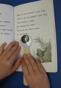 DIY googly eye pointer to help easily distracted readers keep their place on the page.