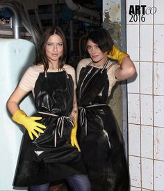 Raincoats For Women Long Sleeve Pvc Apron, Apron Dress, Rain Jacket Women, Pants For Women, Latex Uniform, Plastic Aprons, Plastic Girl, Veronique Branquinho, Rubber Raincoats